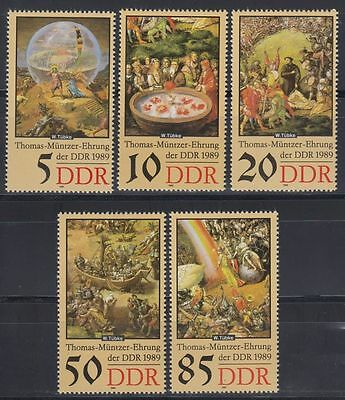 DDR East Germany 1989 ** Mi.3269/73 Gemälde Paintings Thomas Müntzer