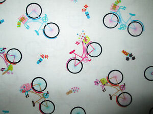 SMALL-BIKE-BICYCLE-FLOWERS-PARIS-COTTON-FABRIC-BTHY