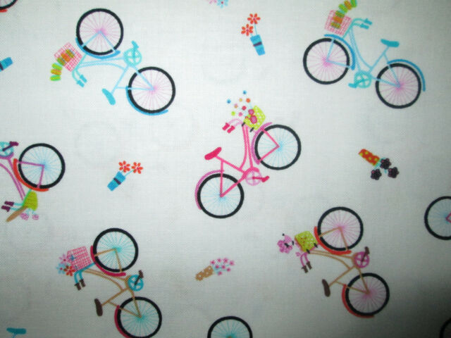 SMALL BIKE BICYCLE FLOWERS PARIS COTTON FABRIC BTHY