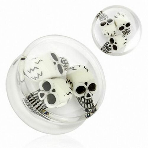 Ear Plug Acrylique Three Skulls