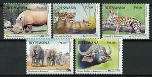 Botswana-2018-MNH-Big-Five-Lions-Rhinos-Elephants-5v-Set-Wild-Animals-Stamps