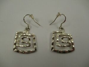 925 Sterling Silver Dangle Earrings Square Spiral Abstract Brutalist Hammered