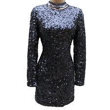 KAREN MILLEN BLACK SEQUINED 20's GATSBY Evening COCKTAIL Shift Mini DRESS SZ 6-8