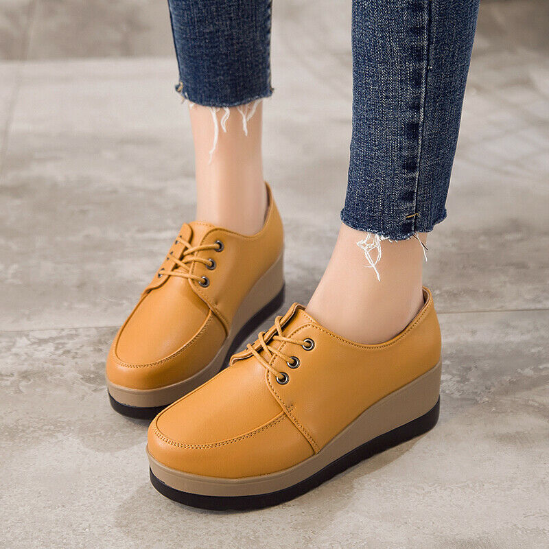 Leather Lace Up Creepers Platform Women Wedge Heels shoes Casual Fashion shoes
