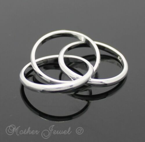 TRINITY RUSSIAN WEDDING ETERNITY MENS LADIES STERLING SILVER PLATED 3 BAND RING