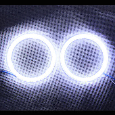 1Pcs  White 90MM COB LED Angel Eyes Headlight Halo Ring Warning Lamps with Cover