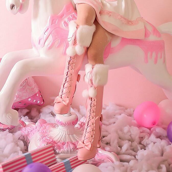 Japanese Womens Sweet Lolita POM POM Winter Fur Trim Knee High Boots High Heels