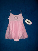 Girls Pink Blue Heart Moret Dance Skating Leotard Outfit Size 6 - 7 Small