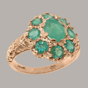 Solid-14ct-Rose-Gold-Natural-Emerald-Womens-Cluster-Ring-Sizes-J-to-Z