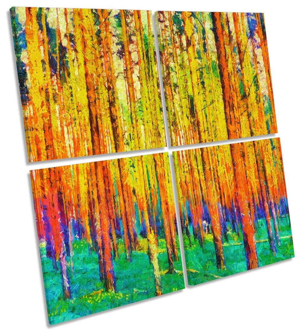 Abstract Forest Trees Repro Framed MULTI CANVAS Drucken Kunst Square