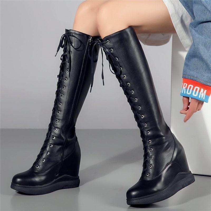 Women Cow Leather Knee High Boots Hidden Wedge Heel Platform shoes Lace Up Zip