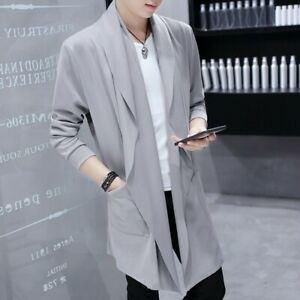 Details about Men's Cardigan Cloak Trench Coat Summer Thin Outwear Jacket Casual Lapel Tops