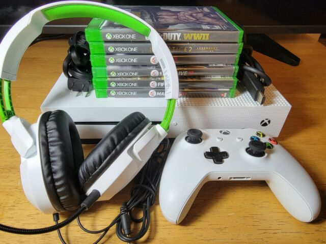Xbox One S 1TB Console Bundle - Headset, Games, Wires, Controller-Fast Shipping