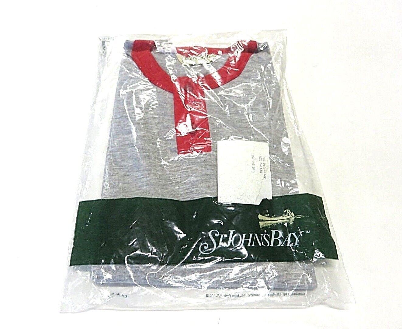 NWT St. John's Bay Grey & Red 1 4 Button Shirt Men's Size 56 58 H Big Sizes