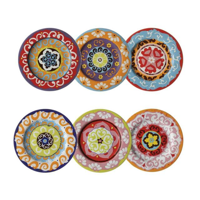 Nador Set of 6 Rim Plates Mediterranean Style 16cm !