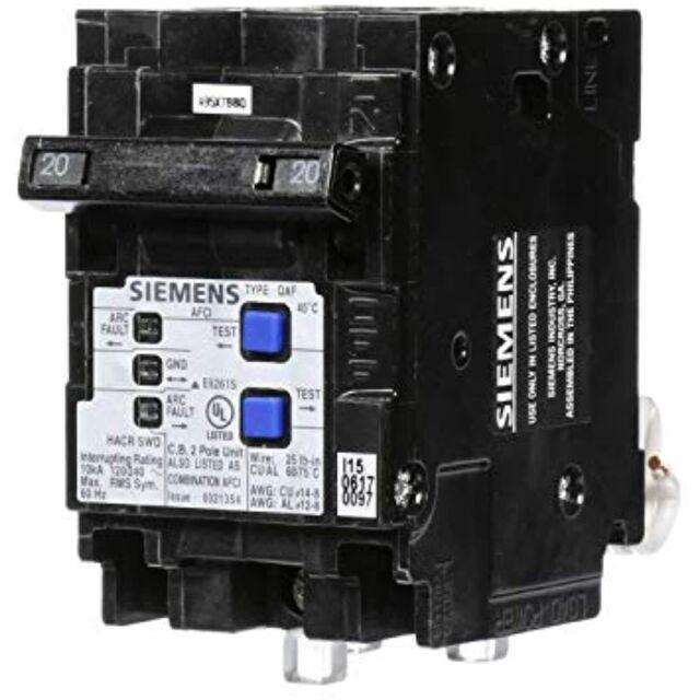 Siemens Q220afcp 20 Amp 120v 2 Pole Combination Afci