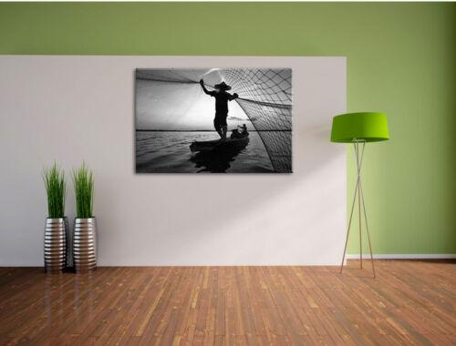 Pêcheurs jette son réseau au coucher du soleil de Art B /& w toile déco