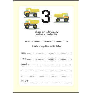 Image Is Loading 10 Childrens Birthday Party Invitations 3 Years Old