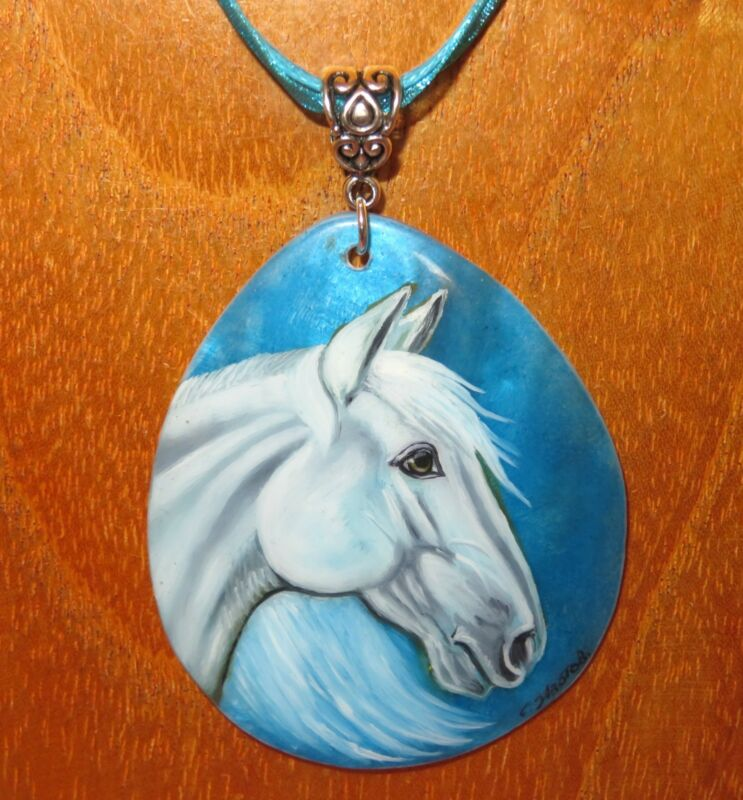 White Horse Shell Blue Pendant Genuine Russian Hand Painted Izotov Signed Gift