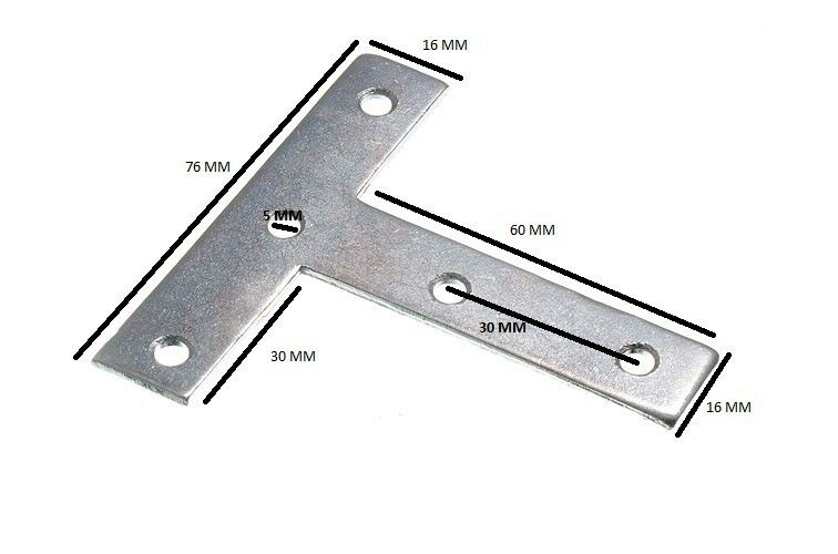 Placa Unión Reparación Forma T Zp 75mm X 16mm X 1.5mm Agujero 5mm Paquete de 100