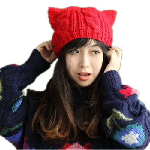 Women Winter Beanie Devil Horns Cat Ear Crochet Braided Knit Ski Wool Cap Hat YS