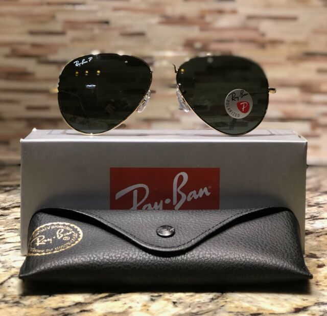 Ray-Ban Aviator Polarized Sunglasses RB3025 001 58 58mm Gold Frame Green  Lens a8934308f7