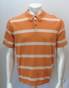 Banana-Republic-Orange-Striped-Short-Sleeve-Men-039-s-Cotton-Polo-Sweater-Size-Large
