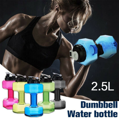 Dumbbell Shaped Sport Water Cup Fit Drink Kettle 2.5L Gym Bottle Y