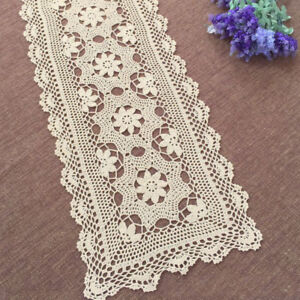 Vintage-Table-Runner-Dresser-Scarf-Rectangle-Hand-Crochet-Lace-Doily-15x47inch