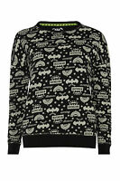 Primark Official Ladies Womens Batman Black Jumper Sweatshirt Tv Film Xl
