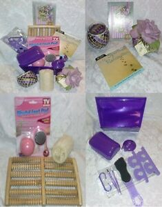 17-Pc-RELAX-Inspiration-GIFT-Basket-Purple-Spa-Music-CD-Mani-Pedi-Massage-Candle