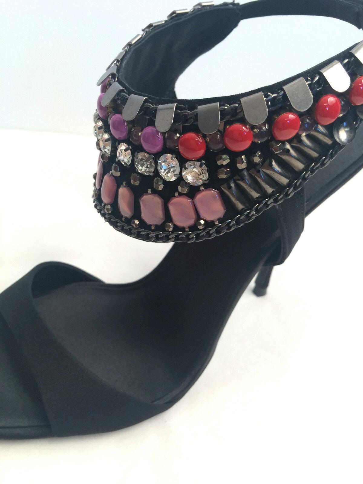 Descuento de liquidación New Womens Karen Millen Black Sandals Satin red pink Beaded high heel All sizes