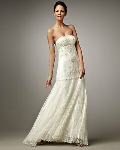 7734a458bee HOT Sue Wong Embellished Beaded Strapless Lace Pleated Skirt Wedding ...