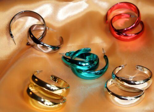 Aretes creolen trendy bisutería chicas metalizado rojo oro turquesa plata