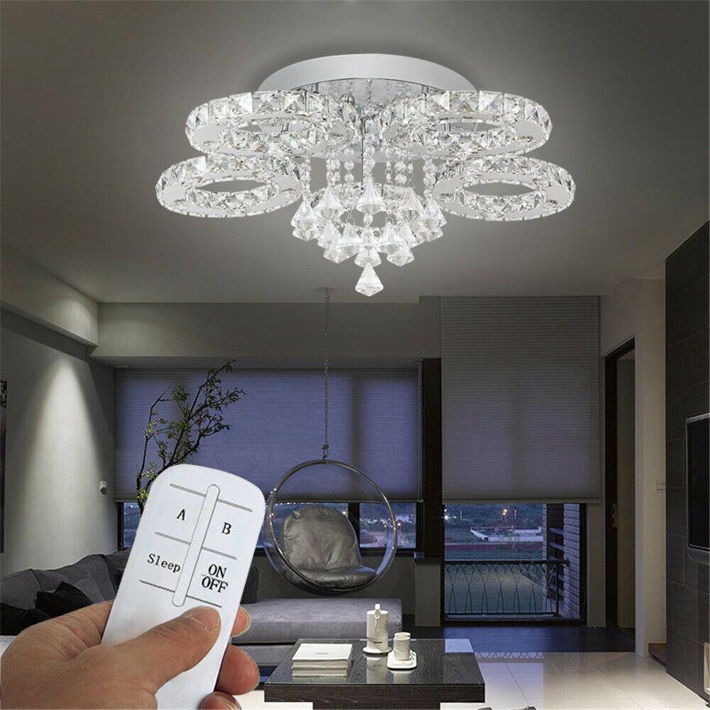 76W 88W LED Kristall Hängeleuchte Deckenlampe Kronleuchter Wohnzimmer Warm Weiß