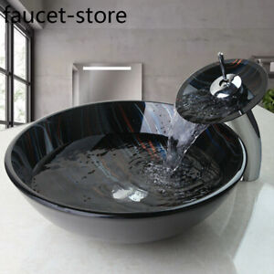 Round Tempered Glass Black Bathroom Vessel Basin Sink Bowl Drain With Taps Set