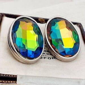 Vintage-1980s-SPHINX-huge-oval-Watermelon-Rainbow-Glass-Clip-on-Earrings