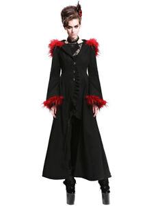 Devil-Fashion-Cruella-Coat-Womens-Long-Jacket-Black-Red-Gothic-Hooded-Fur-VTG