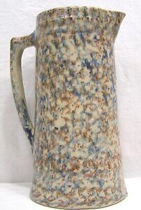 Vintage-Brown-Blue-Spongeware-Stoneware-Tankard-Pitcher-1920s-11-034-Tall