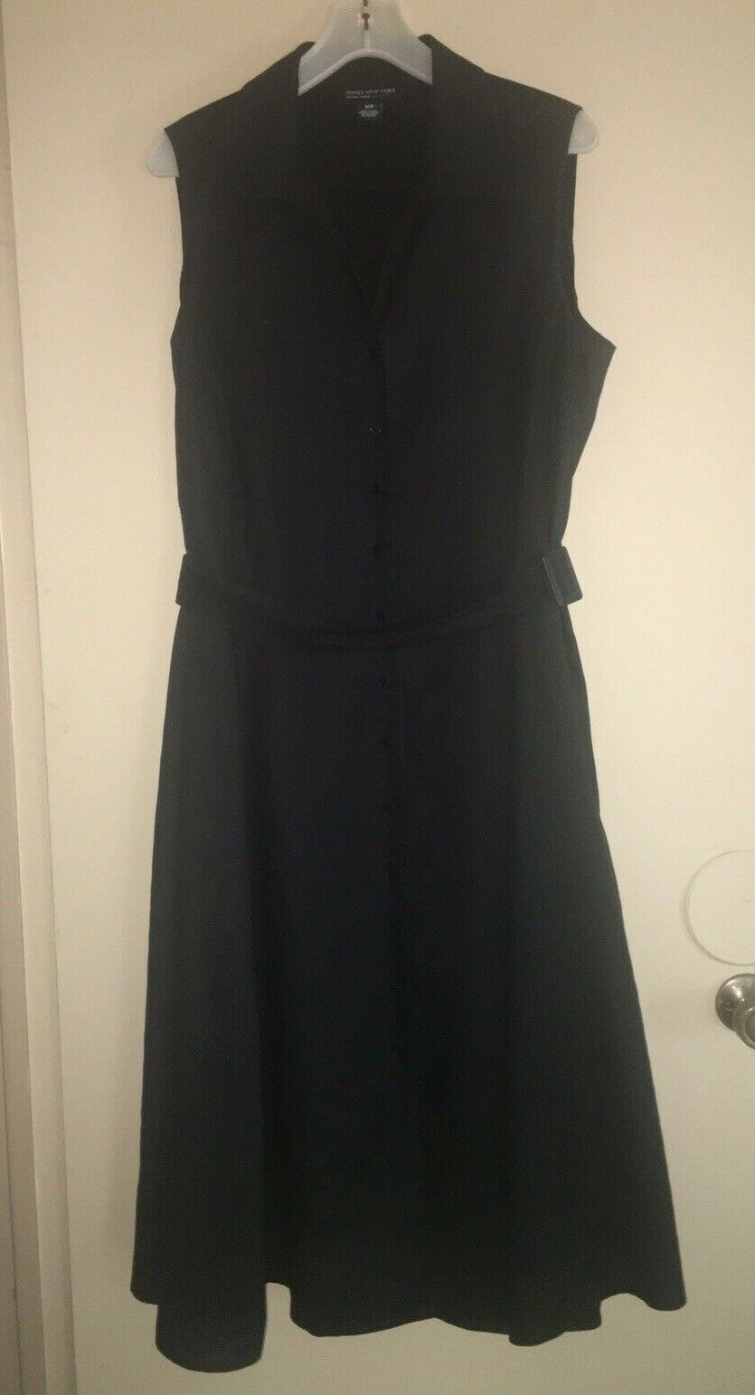 Jones New York Signature Woman 18W Sleeveless Dress Black 100% Linen  Lined