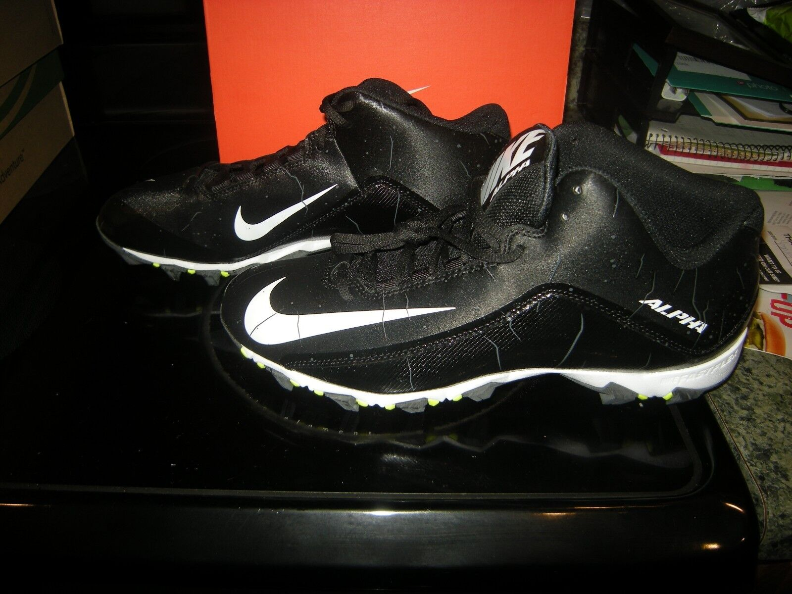 Brand New Mens Black & White Nike Alpha Shark 2 3/4 Football Cleats, Comfortable Comfortable and good-looking