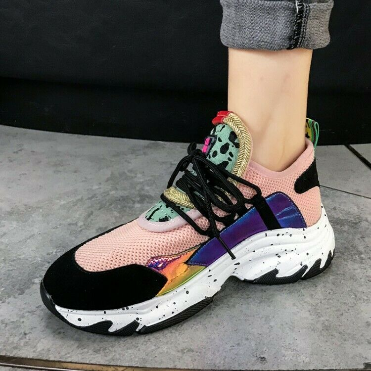 Women Athletic Sport Outdoor Running shoes Round Toe Lace up Wedge Heels Sneakers