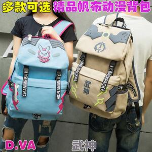 New-Overwatch-OW-D-va-GENJI-Canvas-Backpack-Travel-Shoulder-bag-School-Unisex-Q