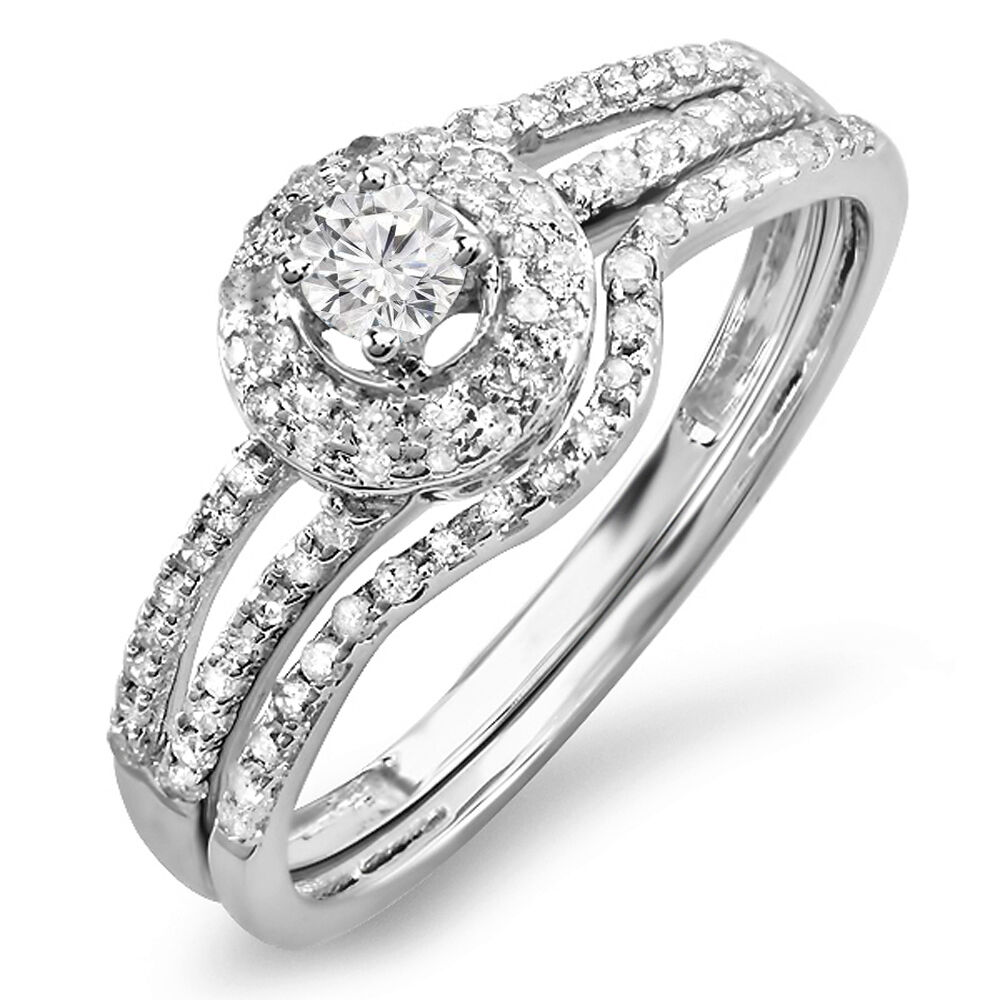 0.48 Carat 14k White gold Diamond Ladies Bridal Halo Engagement Ring Set