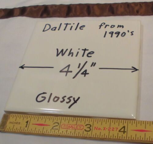 1 pc. Glossy *White*  4-1/4 Ceramic Tile by Daltile...made in the 1990's