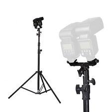 Swivel Dual Hotshoe Flash Speedlite Bracket Umbrella Light tripod Holder Stand