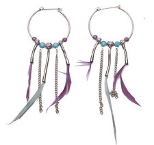 Blanche's crown diamante hoop purple feather earrings uk seller NEW (ZX54)