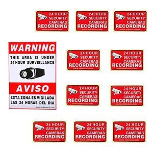 11 home cctv surveillance security camera alarm decals warning signs
