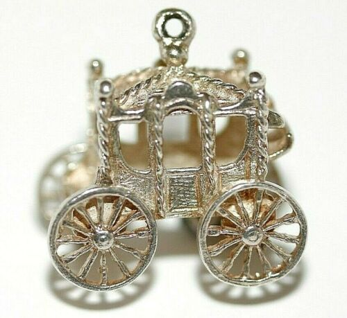 Baby Carriage with Green Stone Mechanical 10K Gold Vintage Charm For Bracelet