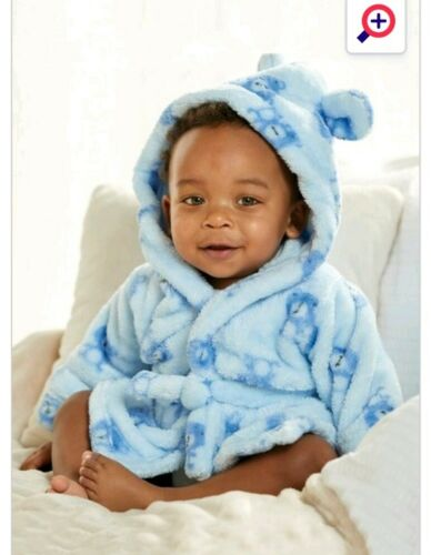 BNWT BOYS GIRLS FLUFFY SOFT BLUE BEAR Dressing Gowns//Robe 18-24 MONTHS  GIFT